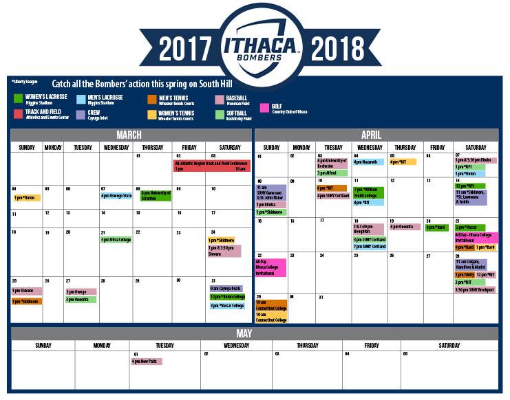 2018 Spring sports calendar   The Ithacan